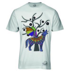 Camiseta Alebrije Coyote Murcielago Hombre Blanca