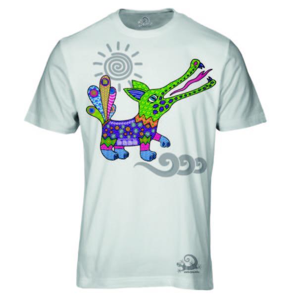 Camiseta Alebrije Cocodrilo Hombre Blanca