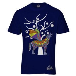 Camiseta Alebrije Coyote Murcielago Hombre Azul Marino
