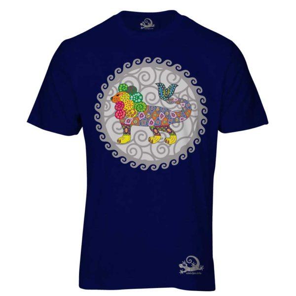 Camiseta Alebrije Leon Pez Hombre Azul Marino