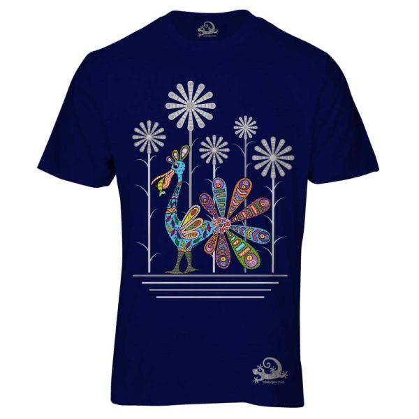 Camiseta Alebrije Pelicano Hombre Azul Marino