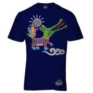 Camiseta Alebrije Cocodrilo Hombre Azul Marino