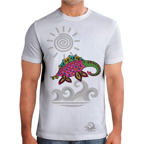 Camiseta Alebrije Elefante Marino Hombre Blanca Modelo