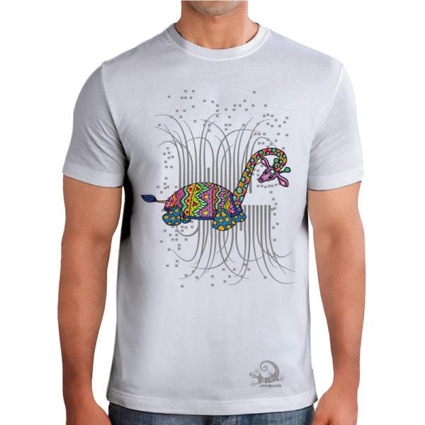 Camiseta Alebrije Jirafa Tortuga Hombre Blanca Modelo