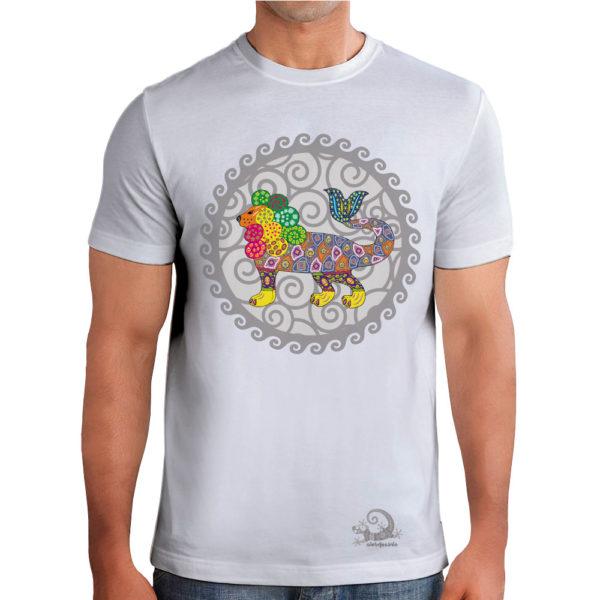 Camiseta Alebrije Leon Pez Hombre Blanca Modelo