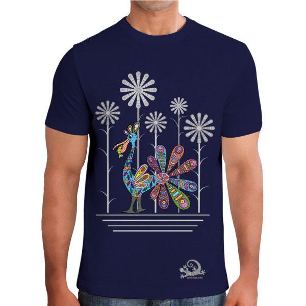 Camiseta Alebrije Pelicano Hombre Azul Marino Modelo