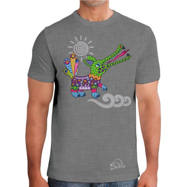 Camiseta Alebrije Cocodrilo Hombre Gris Modelo