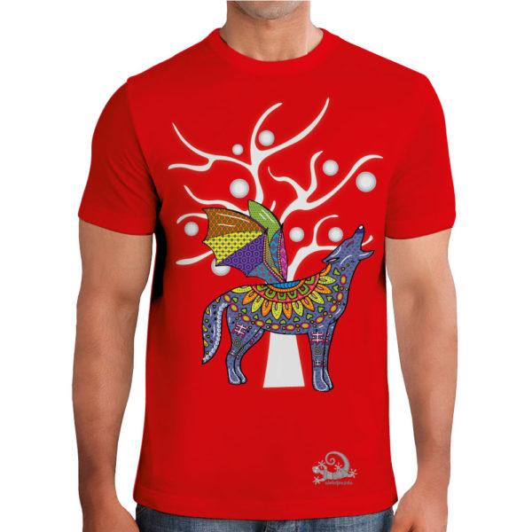 Camiseta Alebrije Coyote Murcielago Hombre Rojo Modelo
