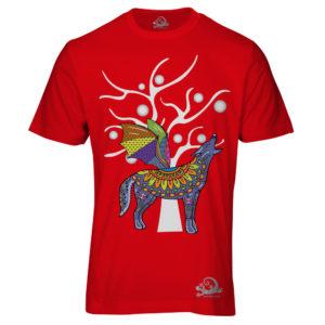 Camiseta Alebrije Coyote Murcielago Hombre Rojo