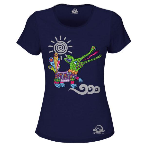 Camiseta Alebrije Cocodrilo Mujer Azul Marino