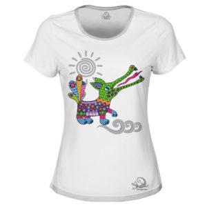 Camiseta Alebrije Cocodrilo Mujer Blanco