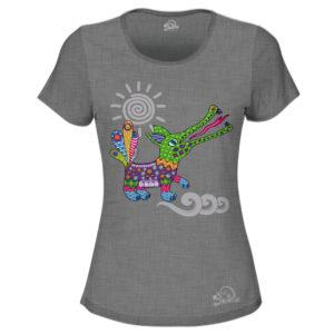 Camiseta Alebrije Cocodrilo Mujer Gris