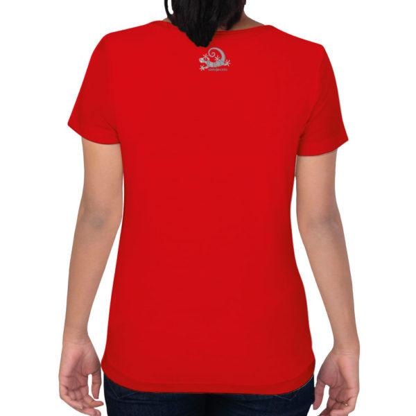 Camiseta Alebrije Mujer Rojo Atras Modelo