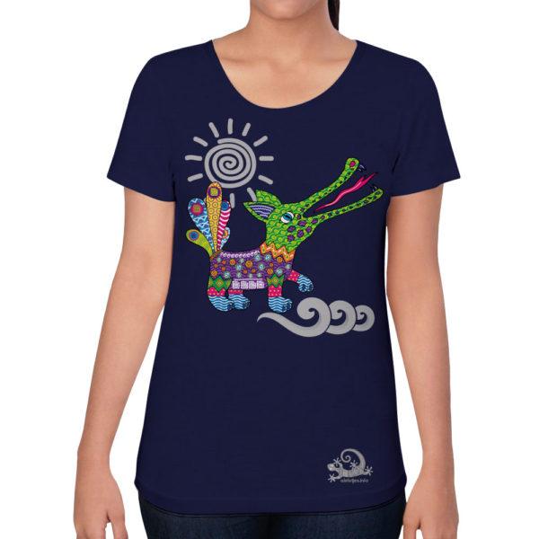 Camiseta Alebrije Cocodrilo Mujer Azul Marino Modelo