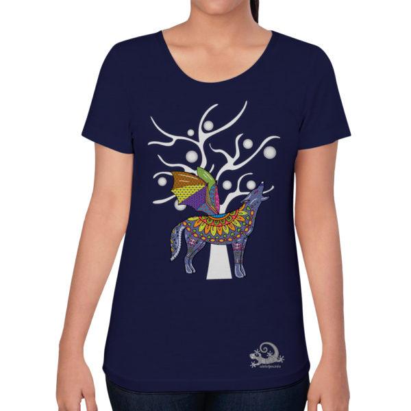 Camiseta Alebrije Coyote Murcielago Mujer Azul Marino Modelo