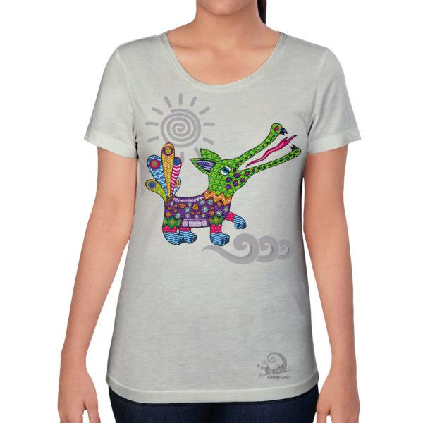 Camiseta Alebrije Cocodrilo Mujer Blanco Modelo
