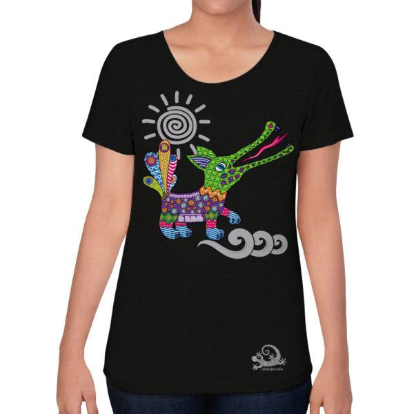 Camiseta Alebrije Cocodrilo Mujer Negro Modelo