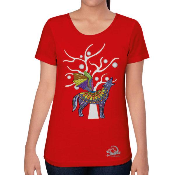 Camiseta Alebrije Coyote Murcielago Mujer Rojo Modelo