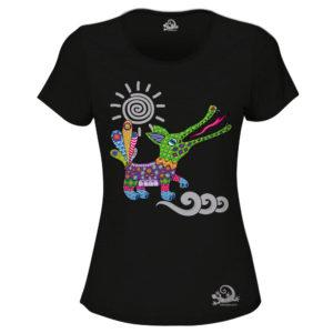 Camiseta Alebrije Cocodrilo Mujer Negro
