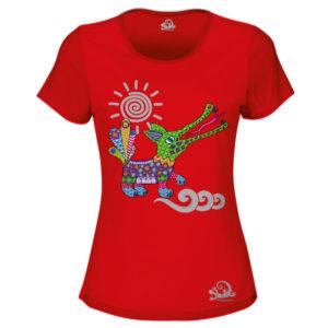 Camiseta Alebrije Cocodrilo Mujer Rojo