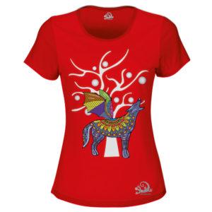 Camiseta Alebrije Coyote Murcielago Mujer Rojo