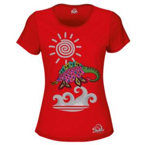 Camiseta Alebrije Elefante Marino Mujer Rojo