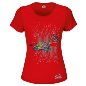 Camiseta Alebrije Jirafa Tortuga Mujer Rojo