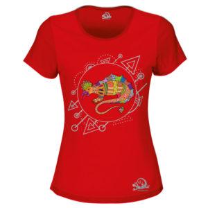 Camiseta Alebrije Lagarto Mujer Rojo