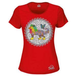 Camiseta Alebrije Leon Pez Mujer Rojo