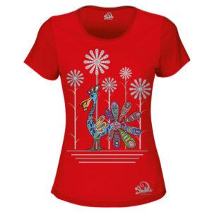 Camiseta Alebrije Pelicano Mujer Rojo